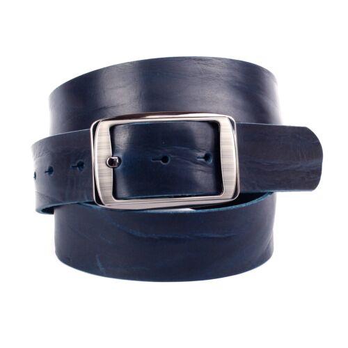 90-125 cm Anthoni Crown Jeans Hommes Ceinture Bleu plat cuir largeur 4 cm