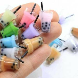 10X Resin charm Colorful Pearl Milk Tea Pendant Necklace Jewelry Accessorie 18mm