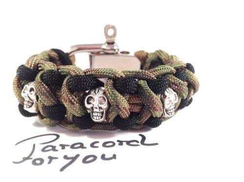 Paracord Hommes Bracelet avec têtes de morts et en acier inoxydable schäckel-skull-Handmade