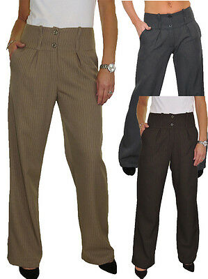 NEW Womens Wide Leg Smart Soft City Trousers Beige 10-22 1272-4