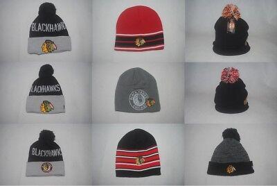 6f4e46e42b3 New NHL Chicago Blackhawks Team Men s Knit Hockey Winter Cap Beanie Various  Hats