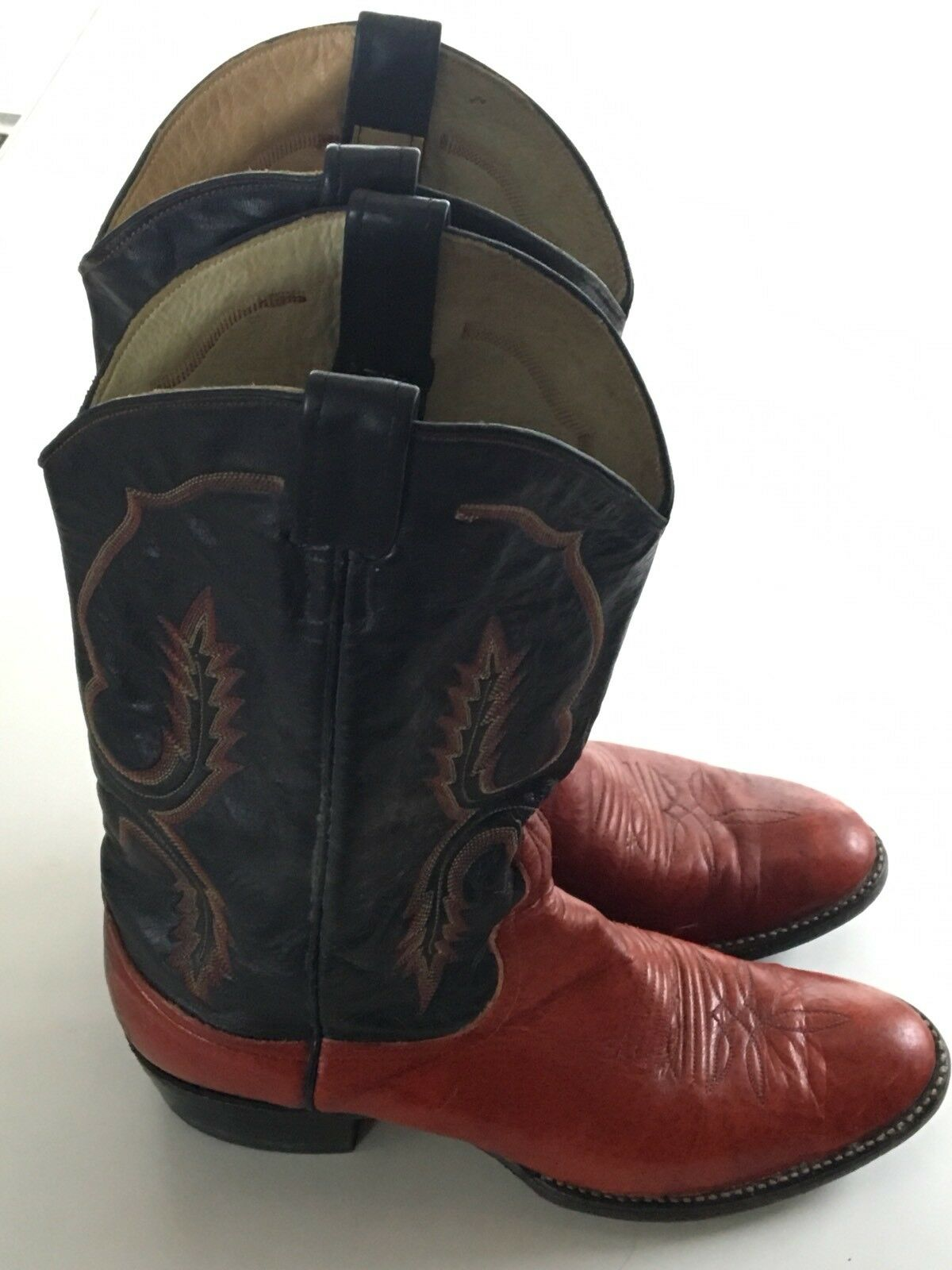 VINTAGE LARRY MAHAN Made In  Texas Cowboy Western Stiefel  In Uomo 9 B ace05f