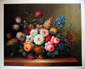 art-print-GARDEN-BOUQUET-Victorian-Vtg-re-Iris-Dahlia-Tulip-Flowers-Floral-22x18