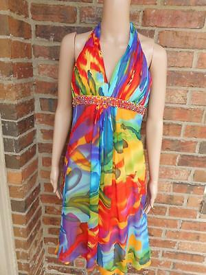 CACHE Halter Dress Size 4 Beads 100% Silk Colorful Cocktail Empire Waist Lined S