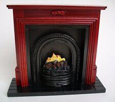 Miniature dollhouse 1:12 scale mahogany fireplace
