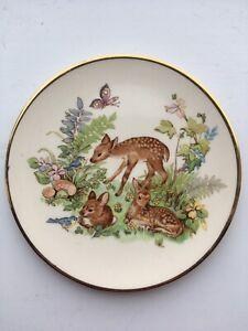 Vintage-Decorative-Plate-Deer-English-Ironstone-4-5Inch-Dia-Nursery