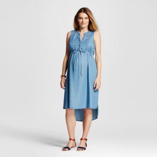 Maternity A Line  Sleeveless Dress Denim Blue S Liz Lange