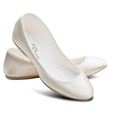 Ivory Bridesmaids Flower Girl Wedding Bridal Pumps Flats Shoes All Sizes LUCY