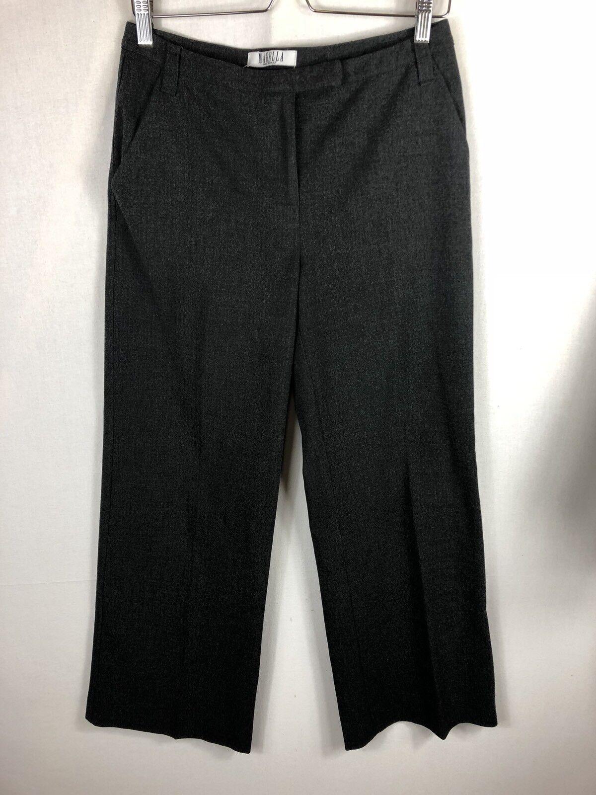 Ladies MARELLA MAX MARA Size 10 Charcoal Grey Tailored Trousers Straight Leg
