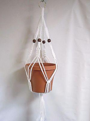 Macrame Plant Hanger 40 inch Vintage Style  6mm  ORANGE