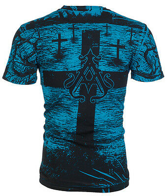 Archaic AFFLICTION Mens T-Shirt CRYPT KEEPER Cross Tattoo Biker UFC M-3XL $40 a
