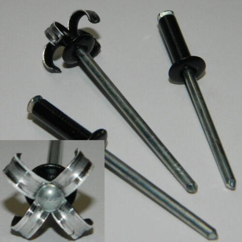50 Stk SPREIZNIETEN 4x14 Alu//Stahl Flachkopf SCHWARZ  RAL9005