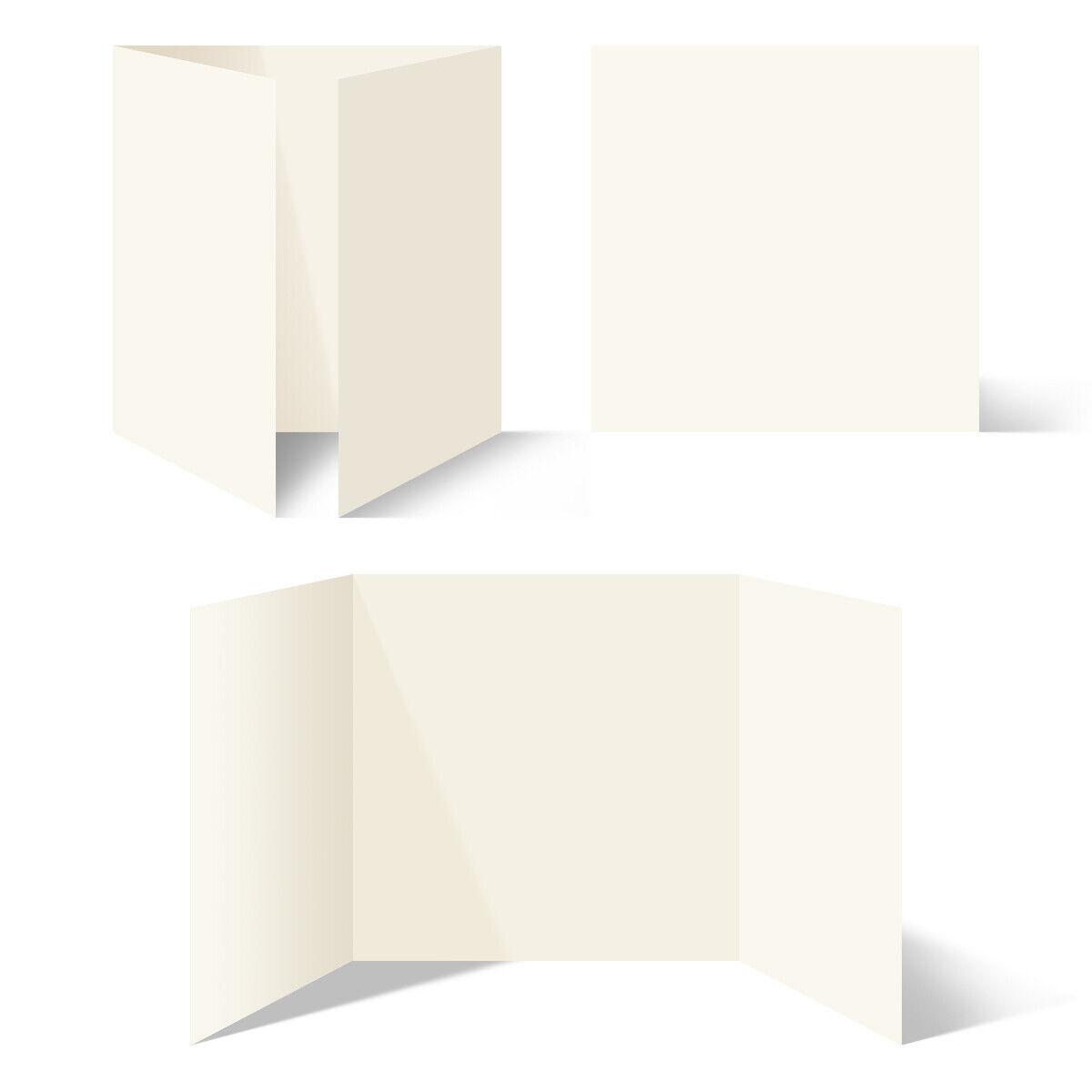 25 - 200 Set Blanko Klappkarten Altarfalz Quadrat 148x148mm Naturpapier