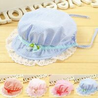 Cute Toddlers Baby Girls Flower Stripe Sun Hat Cap Summer Cotton Hat Bonnet New