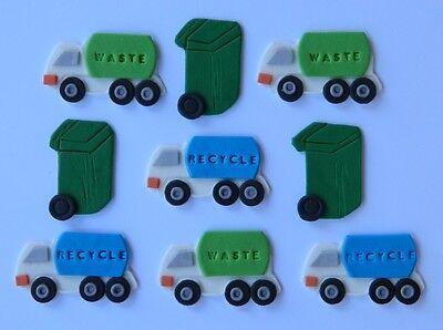Swell 12 Edible Garbage Truck Bin Recycle Cake Decoration Topper Wedding Personalised Birthday Cards Veneteletsinfo