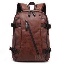 Men's Vintage Backpack School Bag Travel Satchel PU Leather Laptop Bag Rucksack