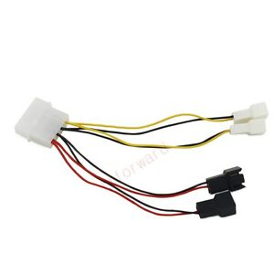 2pcs 4pin Molex To 2x 12v 2x 5v 3pin Connector Extension