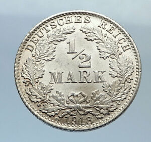 1918-WILHELM-II-of-GERMANY-1-2-Mark-Antique-German-Silver-Coin-Eagle-i71657