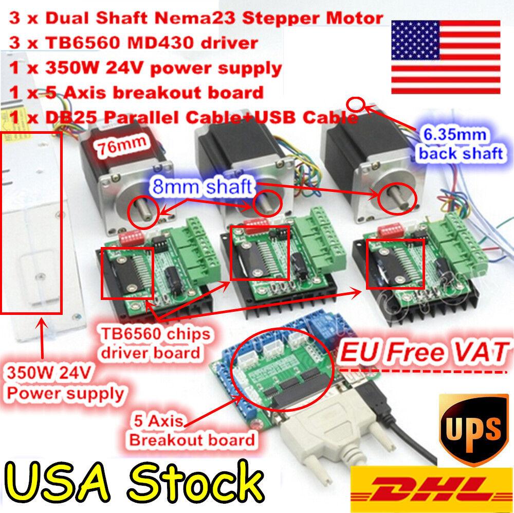 Wantai 3Axis Stepper Motor Nema23 4.2A 425oz-in Single Shaft 4lead CNC EU Free