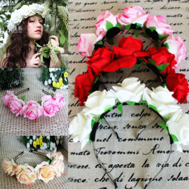 1*Rose Floral Flower Garland Crown Headband Hair Band Bridal Festival Holiday