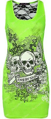 New Womens Forever Young Skull Print Bodycon Dress Lace Back Vest Tops Plus Size
