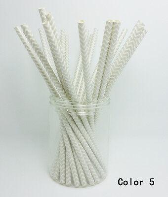 25 Paper Straws Colorful Chevron Striped Drinking Straw Party Wedding Birthday