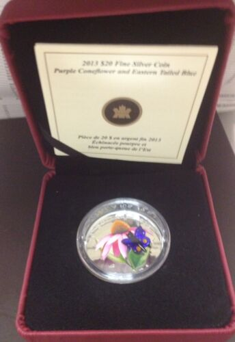 Glass 2013 $20 Fine Silver Coin Purple Coneflower and Eastern Tailed Blue