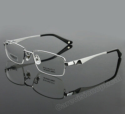 New Designer Men's 100% Pure Titanium Half Rimless Glasses Frame Eyewear RX Able