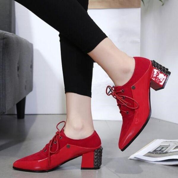 negozio outlet Stivali stivaletti stiletto bassi rosso rosso rosso tacco quadrato lacci 5 simil pelle 8004  presa