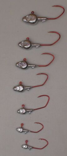 Gold Sickle Hooks 100 or 50 Counts Minnow Head Jigs 7 Sizes Bronze Red