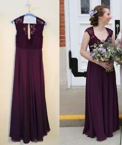 Details About Mori Lee Eggplant Lacechiffon Bridesmaid Dress V Neckline Cap Sleeves