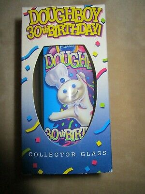 NIB 1995 Pillsbury Doughboy 30th Birthday Glass Collector Cup s Buy Xtra Save $