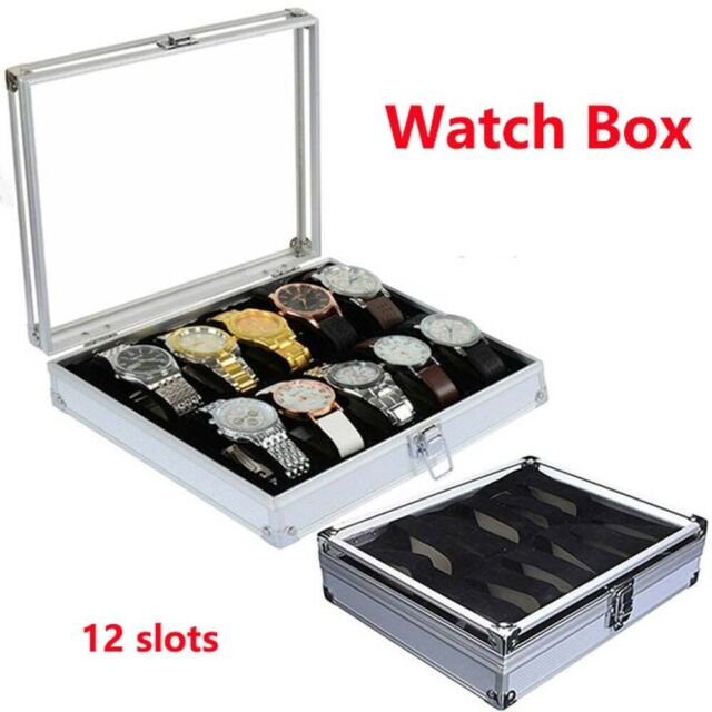 Watch storage box Aluminum Alloy Case 12 Grid Slots Jewelry Display Storage r