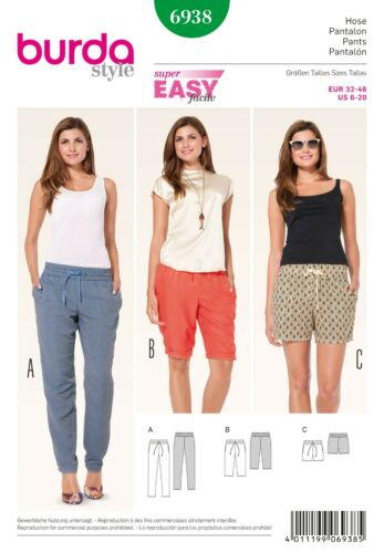 BURDA Style 6938 Summer Super Easy Shorts//Trousers Sewing Pattern EUR 32-46