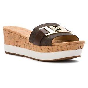 b8fb4d7375 Michael Kors MK Brown Mini Logo WARREN Platform Wedges Sandals Shoes ...
