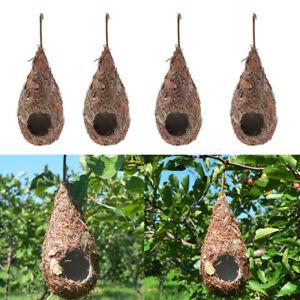 Set of 4 Hummingbird Birdhouse for Outside Hanging, Grass Hand Woven Bird Nest,