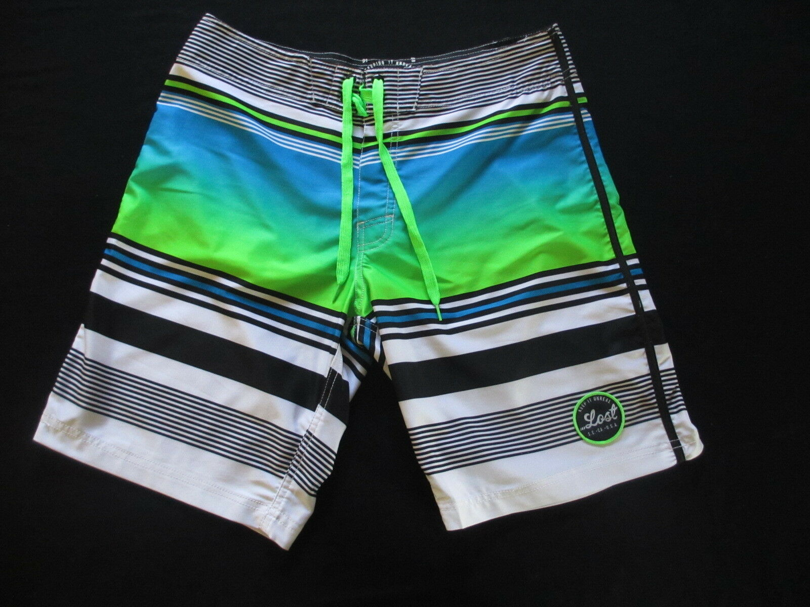 Lost Enterprises Ombre Stripes Board Shorts Swim Trunks Size 32 Free Shipping
