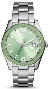New-Fossil-Women-ES3731-Boyfriend-Round-Green-Dial-Stainless-Silver-Band-Watch