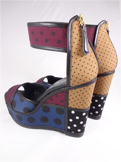 Piere Hardy Black Polk A A A Dot Platform ankle strap platform wedge Sandal SZ39 Eur 75a41f