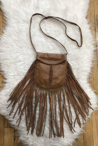 Boho Bandoulière western Bag Cognac Frange brown Cleobella Memphis leather qR8nRvz