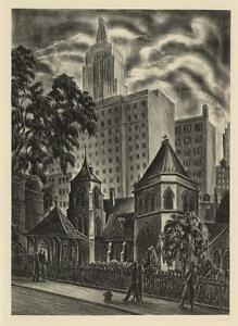 Carlos Anderson Little Church Around Corner Empire State WPA Era Art Print NYC