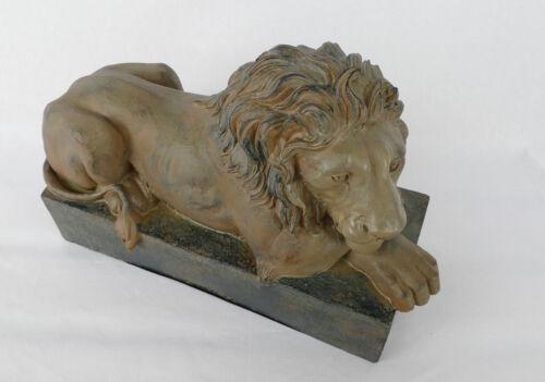 ruhender Löwe Tempelwächter Skulptur Figur Vintage Dekofigur Türwächter NY09-b