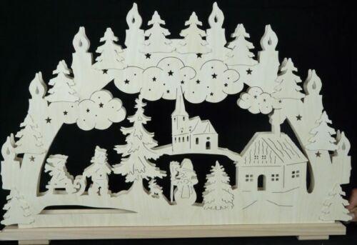 Schwibbogen Winter groß B x H= 70x45cm NEU Lichterbogen Fensterschmuck Holz