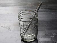 Short Thick Reusable Glass Straws 5 Pack For Half Pint Mason, Ball Jars +brush