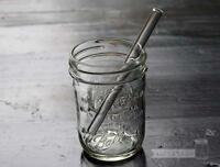 Short Thick Reusable Glass Straws 5 Pack For Half Pint Mason, Ball Jars +brush