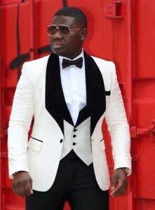 Men 3 Piece White Suit Black Shawl Lapel Groom Tuxedos Formal Wedding Prom Suit