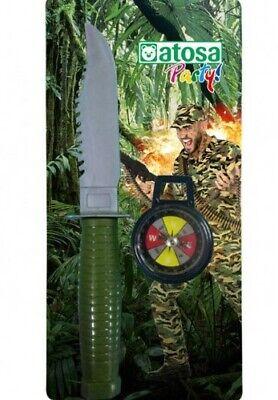 Vendita Calda Couteau Et Boussole Militaire Accessoire Déguisement Armée Rambo Neuf