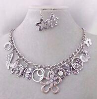 Silver Flower Angel Wing Flower Butterfly Cross Necklace Set Fashion Jewelry