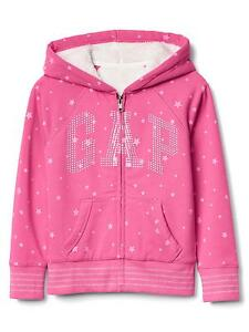 Image is loading GAP-Kids-Girls-Cozy-Logo-Sherpa-Zip-Hoodie-