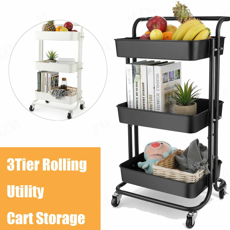 3 Tier Utility Cart Storage W Rolling Wheel Metal Mesh Wire Basket Trolley Blue For Sale Online Ebay